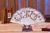 Rcdxing Elegant Rose Flower Pattern Lace Foldable Dancing Hand Fan