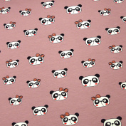 Bulk Goods Jersey Fabric 0.5 Panda Head With Bow Pink 5% Elastane 95% Cotton Width 140 cm Sold by the Metre (Size