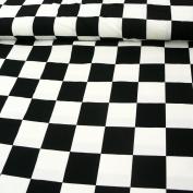 Polyester Fabric Square Checker Tile Black White 1.5 m wide