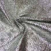 Snakeskin Metallic Silver Fabric Black 1.4 m width