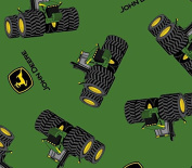 John Deere Tossed Tractor and Logo Fabric, Cotton, Green