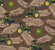 John Deere Dirt Magnet Tractors Fabric, Cotton, Brown