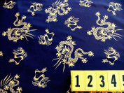 Poly Lycra Stretch Fabric - Navy Gold Chinese Dragon - 150cm Wide - New by Dcf