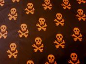 Cotton Fabric - Orange Skull and Cross Bones - New off the roll - per metre