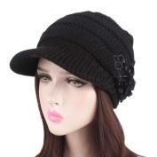 Women Hat Winter,Mamum Fashion Women Ladies Winter Knitting Hat Berets Turban Brightflower Brim Hat Cap Pile Cap