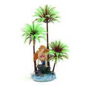 Plastic Coconut Tree Aquarium Underwater Aquascape Decorative Plant w/ Stand