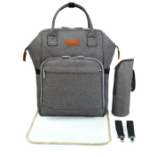 Baby Changing Backpack - Wide Open Baby Changing Bag Rucksack Set for Mums and Dads Pram Bag with Stroller Straps Changing Mat Insulated Bottle Holder, Grey, Double Elite