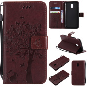 Galaxy J3 2017 Case, Samsung Galaxy J3 2017 (EU Model) Wallet Case, BONROY [Kickstand] Retro Flip Case, Elegant Vintage Pressed Tree Cat Butterfly Pattern Design Premium PU Leather [with Lanyard Strap/Rope] Stand Function Card Holder and ID Slot Slim F ..