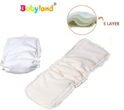 Babyfriend Bamboo Night Inserts * * * 5 Count Savings Pack Leakage Protection Dry Effect * * * 5 Ply Super Soft * * Nappy Liners/Pads/Booster with Suction – Impact Protection for Fabric Nappies