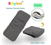 Babyfriend Bamboo Charcoal/Bamboo Charcoal Night Inserts * * * 5 Count Savings Pack Boost * * * 5 Ply Super Soft * * Nappy Liners/Pads/Booster with Suction – Impact Protection for Fabric Nappies