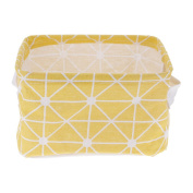 Huayang| Fresh Grids Foldable Cotton Linen Storage Basket Container Box with Handles for Home Shelves & Desk Organiser Yellow