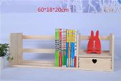 Freestanding Book Shelf / Desk Top Organisation Wooden Table Little Bookshelf Desktop Wooden Shelving Rack B Pine 60 * 18 * 20cm