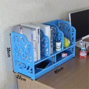 Freestanding Book Shelf / Desk Top Organisation Colour Desktop Little Bookshelf Table Rack Shelf Shelf Shelf Organise Large Blue 60 * 35 * 22cm