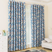 KINLO 2 Panels Thermal Insulated Blackout Curtains with Eyelet 145 x 245 cm Blue Triangle Pattern 100% Polyester Blackout 80% Energy Saving & Noise Reducting Curtains