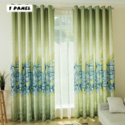KINLO Eyelet Blackout Curtains 1 Panel-145 x 245 cm Thermal Insulated Eyelet Anti-noise Blackout Curtains with Ruffle Heavily Curtain European Buildings Cyan-Blue