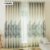 KINLO Eyelet Blackout Curtains 145cm x 245cm Thermal Insulated Top Eyelet Anti-noise Blackout Curtains with Ruffle Heavily Curtain European Buildings Coffee