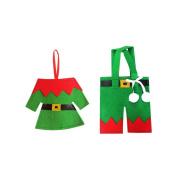 Topker Christmas Elfs Cutlery Tableware Holder Fork Spoon Bag Cover Dining Table Decor