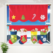 Red Christmas Curtain White Door Window Drape Panel Party Christmas Curtain with Socks Room Decor Classical Party Festival Decorations