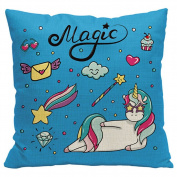 Gluckliy Colourful Magic Unicorn Print Cotton Linen Throw Pillow Cases Cushion Cover Home Bedroom Sofa Decor
