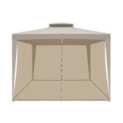 ALEKO GZB001 Double Roof 3m x 3m Patio Gazebo with Mesh Netting Picnic Sun Shade, Sand