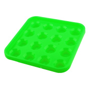 Plastic Square 16 Compartments Billiard Pool Ball Carrying Case Holder Green