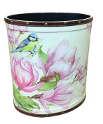 Medium waste paper bin Wooden basket storage Oval shape Cream with magnolia and blue bird print