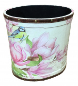 Small waste paper bin Wooden basket storage Oval shape cream with Magnolia and blue bird print