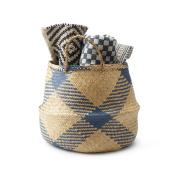 Black Velvet Studio Basket Belly Natural / Blue colour boho chic original design Straw 32 x 40 x 40 cm