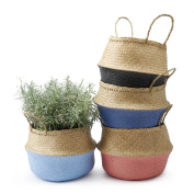 Black Velvet Studio Basket Belly Natural / Gunmetal colour blue chic original design Straw 32 x 35 x 35 cm