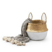 Black Velvet Studio Basket Belly White / Gold colour boho chic original design Straw 32 x 35 x 35 cm