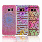 for Samsung Galaxy S6 Edge Case, Sunroyal [2 Pack] Bling Crystal Clear Premium Anti-Slip Beautiful Pattern Printed Flexible Soft TPU Gel Back Cover Scratch-Resistant Thin-Fit Shockproof Absorption Cute Case Cover for Samsung Galaxy S6 Edge G9250 - 1 * ..