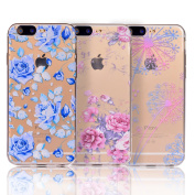for iPhone 7 Plus Case, Sunroyal [2 Pack] Bling Crystal Clear Premium Anti-Slip Beautiful Pattern Flexible Soft TPU Gel Back Cover Scratch-Resistant Thin-Fit Shockproof Absorption Cute Case Cover for iPhone 7 Plus 14cm - 1 * Blue Rose + 1 * Pink Ro ..