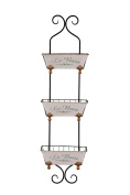 Hollyberry Home Wall Baskets, Iron, Soft Pink, 117.5 x 32.5 x 32 cm