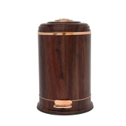 wysm Trash wood grain creative high-grade stainless steel office fashion foot mute home living room with a lid trash can