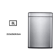 Stainless Steel Trash Living Room Kitchen Uncovered Creative Bathroom Toilet Sink Continental Simple , 8L Sand Steel Colour