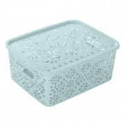 ZHOUBA Plastic Hollow Pattern Storage Basket Box Container Organiser Household Holder
