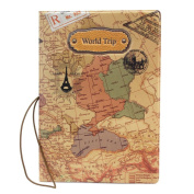 xinyiwei PU Leather World Map Passport Cover Holder ID Card Ticket Holder - Yellow