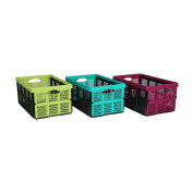 axentia Plastic Folding Storage Container with Handles, Multi-Colour, 59 x 39 x 30 cm