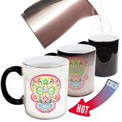 Funny Mugs - 123t Colour Pattern Skull - Joke Humour Gift Birthday Present COLOUR CHANGING NOVELTY MUG -Christmas Secret Santa