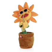 Goolsky Singing and Dancing Flower Enchanting Sunflower with Saxophone Soft Plush Funny Creative Electric Toys Stuffed Toy