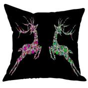 squarex New Cotton Linen Christmas Deer Pillow Case Cushion Cover Sofa Home Car Decor