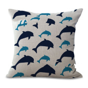 Cushion Cover 2pcs Does Not Contain Core Pillow Car Decoration Dolphin Geometry Printing Cotton Sofa Bedroom Decoration,A