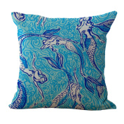 Cushion Cover 2pcs Does Not Contain Core Marine Life Printed Cotton Pillowcase Café Hotel Sofa Decor,D