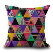 Cushion Pillowcase 2PCS Does Not Contain Core Geometric Cotton Sofa Decorative Pillowcase Colourful Decor Pillowcase,E