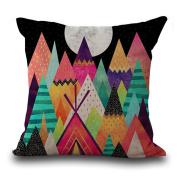 Cushion Pillowcase 2PCS Does Not Contain Core Geometric Cotton Sofa Decorative Pillowcase Colourful Decor Pillowcase,A