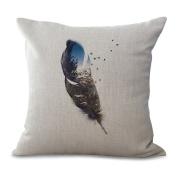 Cushion Cover 2pcs Does Not Contain Core Pillowcase Feather Series Cotton Linen Sofa Car Back Pillow,D