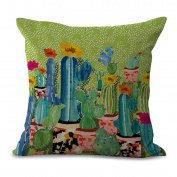Cushion Cover Pillow Cover 2 Pcs Does Not Contain Core Plant Cactus Cotton Living Room Creativity Personality,A