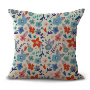 Cushion Cover 2pcs Does Not Contain Core Painted Printing Cotton Sofa Cafe Fashion Vintage Decoration,A