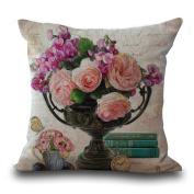 Cushion Cover 2pcs Does Not Contain Core European Retro Vase Printed Cotton Pillowcase Sofa Bedroom Pillowcase,B