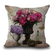 Cushion Cover 2pcs Does Not Contain Core European Retro Vase Printed Cotton Pillowcase Sofa Bedroom Pillowcase,E